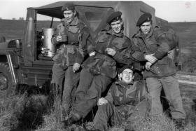 Soldiers of 289 Para Regt RHA (TA) relax at Hankley Common, October 1964