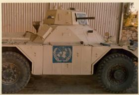 5 Troop, Para Sqn RAC Ferret scout car at Polemidhia, Limassol, Cyprus, 1974.