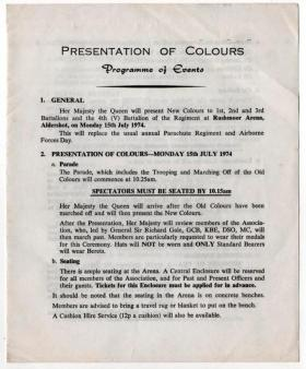 Presentation of Colours, programme of events, 15 July 1974.
