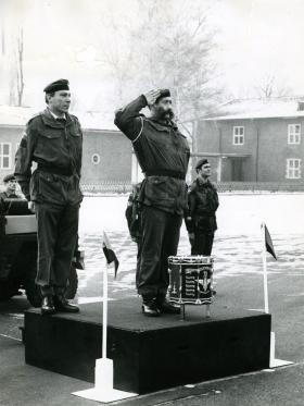 Cpl Joe Lee takes the Salute as 1 PARA marches past on the occasion of his leaving the Army after 22 year's service, 1976.