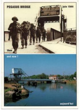 Pegasus Bridge postcard 'Then and Now', c1980.
