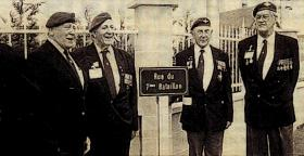 Tony Lycett with other veterans of 7th Battalion at Benouville, 1996.