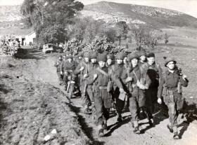 1st Parachute Battalion marching through a hilly landscape, c1942.