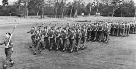 2 PARA march off Barossa Square after Trooping the Colour, Aldershot 1958.