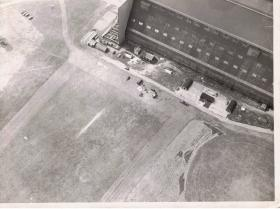 Aerial view of the Balloon Training Unit Hangar at RAF Cardington