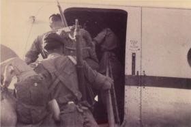 2 PARA advance party emplaning to return home, Nicosia, Jordan, October 1958