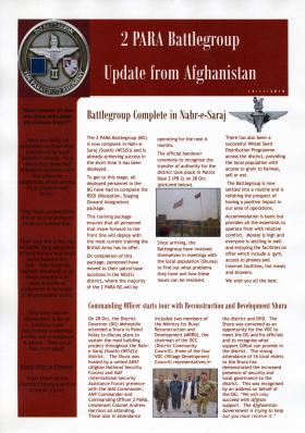 2 PARA Battlegroup Update from Afghanistan, November 2010