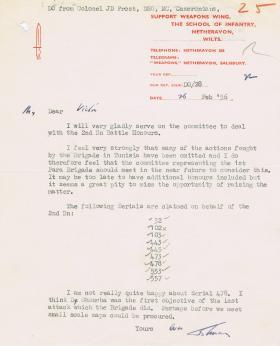 Letter regarding 2nd Battalion Battle Honours, 26 February 1956.