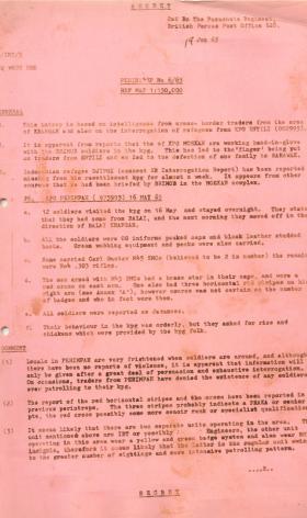 2 PARA intelligence report into border activity, Borneo, June 1965