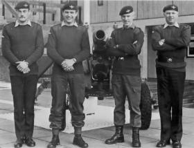 Members of 2 PARA in front of a captured Argentinian Gun, Browning Barracks c1982
