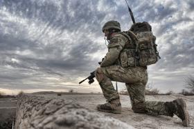 Soldier from 2 PARA on patrol, Char Coucha, Afghanistan, 2011