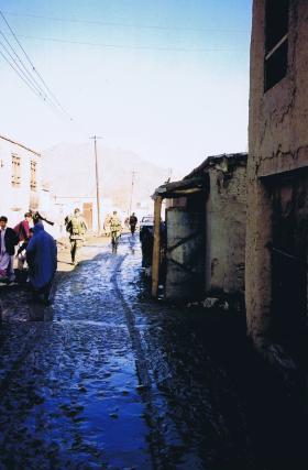 2 PARA patrol a back street in Kabul, Afghanistan, 2002