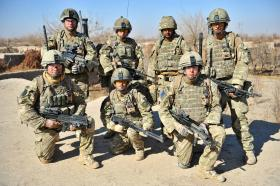 Members of 2 PARA pose for group photo, Afghanistan, 2011