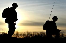 Members of 2 PARA at dusk, Afghanistan, 2011