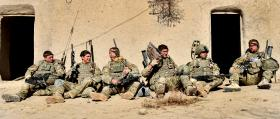"Soldiers from 2 PARA relax with a ""Ghetto Blaster"", Afghanistan, 2011"