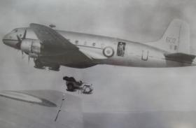 Airborne Jeep on Dropping Platform slung beneath a Hastings, c.1948-9