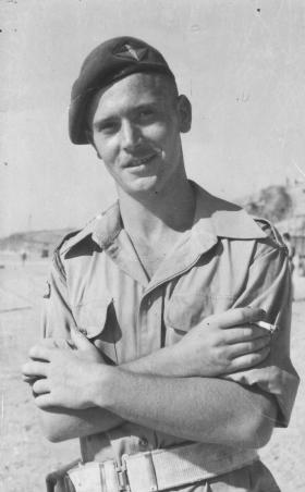 Fus Roy Lovelock on a beach, Palestine, 20 August 1946.