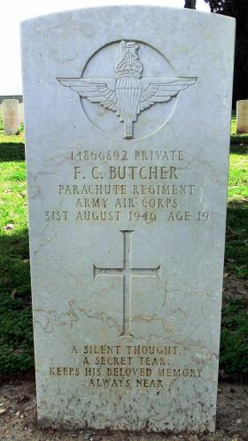 Grave of Pte Frederick C Butcher, Ramleh War Cemetery, Israel, 2015.