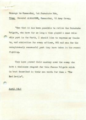 Message to Commander 1st Parachute Brigade from General Alexander, April 1943.