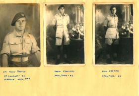 Three paratroopers in separate formal solo portraits.