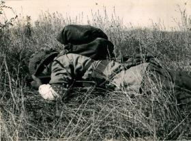 Paratrooper takes cover in some long grass while training, North Africa, 1943