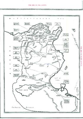 Map showing the end in North Africa.