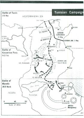 Map showing the Tunisian campaign.