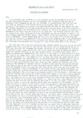 Statement by Corporal J McConney, North Africa, 15 December 1942.