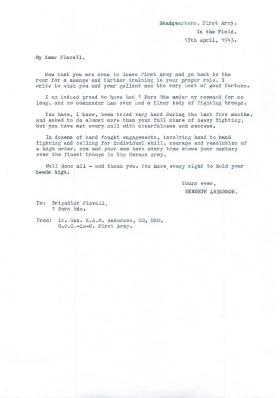 Letter of Thanks to Brigadier Flavell from Lt General Kenneth Anderson.