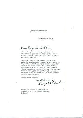 Letter to Brigadier Lathbury from General Eisenhower About Gift of Luger Pistol.
