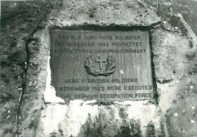Memorial marking where 11 Op Freshman soldiers were executed by Germans.