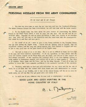 Personal message from General Montgomery, Commander of the Eighth Army.