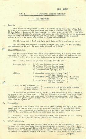 Information on 1st Parachute Brigade's part in Sicily operations.