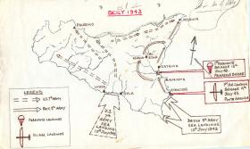 Map showing parachute and glider landings in Sicily, 1943.