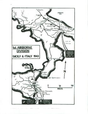 Map showing 1st Airborne Division in Sicily and Italy, 1943.