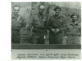 Four officers including General Down in Cassino, 1944.