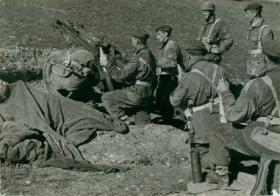 75mm Pack Howitzer gun crew of 1st Airlanding Light Artillery Regiment, Italy, 3 November 1943.