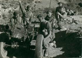 75mm Pack Howitzer gun crew of 1st Airlanding Light Artillery Regiment, Italy, 1943.