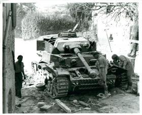 A knocked out Mark IV German tank at S Savino, September 1944.