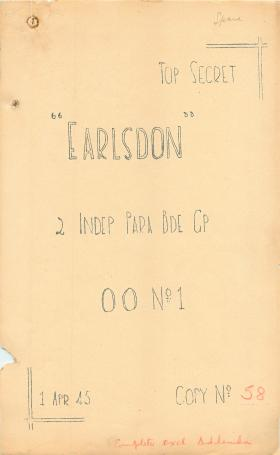 Detailed planning document for Operation Earlsdon.