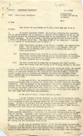 Letter from Brigadier Pritchard about shortfalls of Operation Hasty.