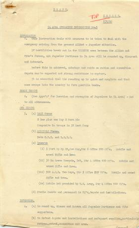 Document outlining the emergency arising from Allied-Jugoslav situation.