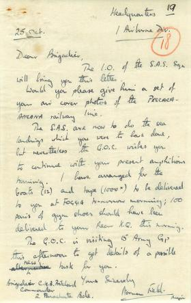 Letter to Brigadier Prichard asking for aerial photos of railway line.
