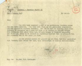 Message to Major Vernon about training of Royal Engineers for Operation Crafty.