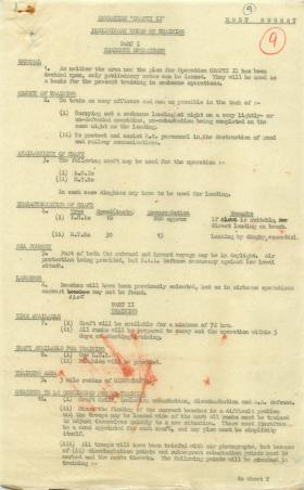 Notes on training for seaborne aspect of Operation Crafty.