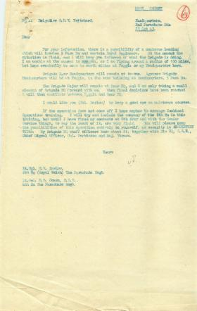 Letter from Pritchard about possibility of seaborne landing.