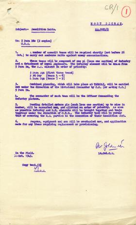 Letter from Lt-Col Goldsmith about demolition raids for Operation Crafty.