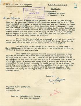 Letter from Lt Col Campbell about personnel yet to return from Op Simcol, 1943.