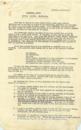 Report on possible airborne operations to assist Allied POWs, 1943