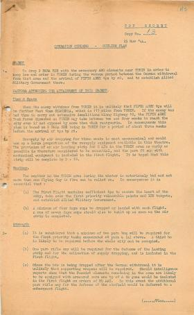 Outline plan for Operation Cinders.